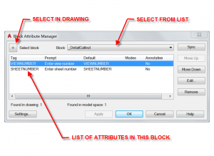 Block Attribute Manager Window