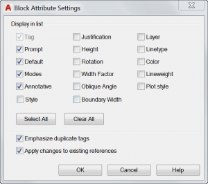 Block Attribute Settings Window