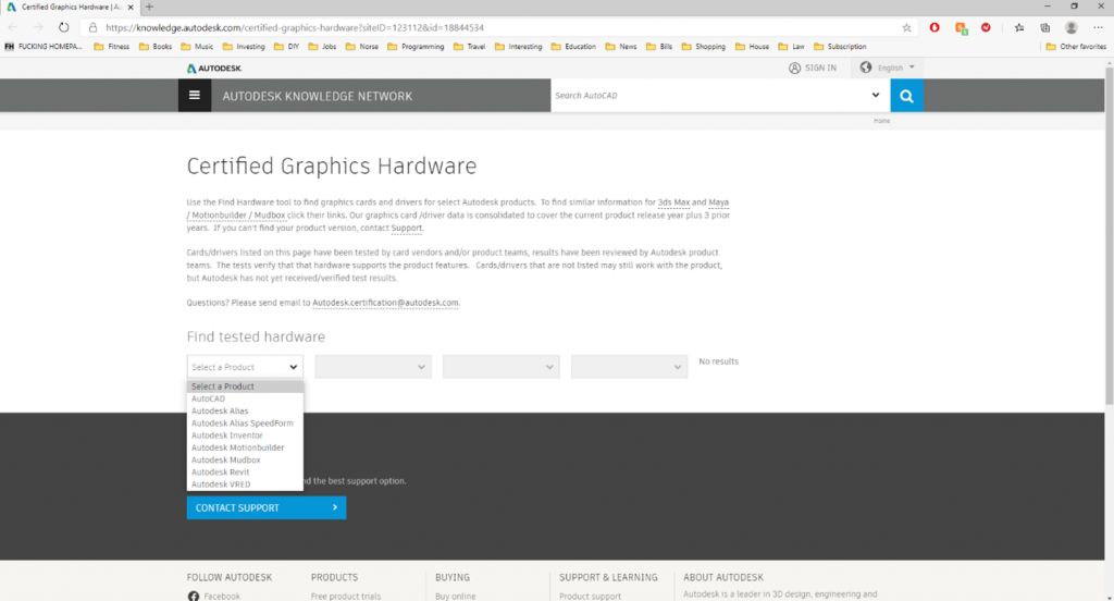 Autodesk's Certified Graphics Hardware Page