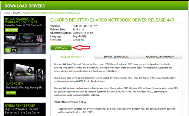 NVIDIA Download Page for Driver