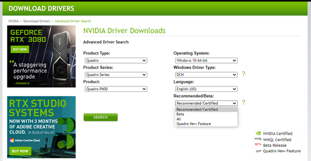 Autodesk Certified Graphics Driver Filter Page